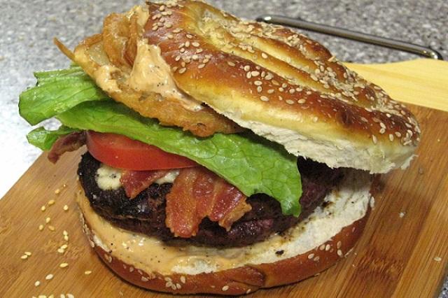 Floribbean Cajun Surprise Pretzel Burger