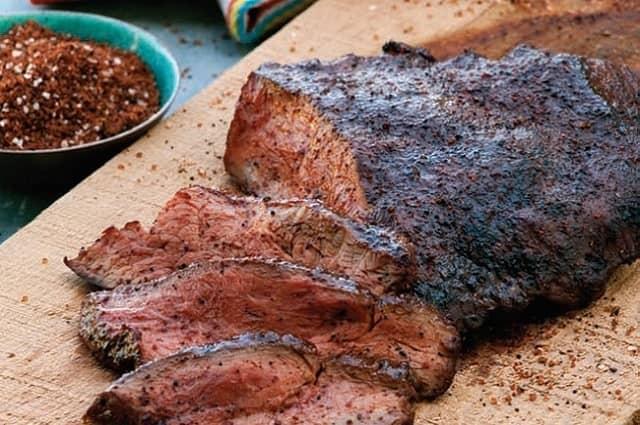 Cedar-Grilled Flat Iron Steaks with Coffee Rub