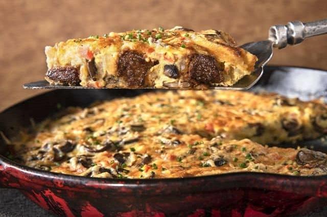 Steak, Mushroom and Swiss Frittata