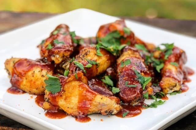 Smoked Wings in Peaches & Brown Sugar Sauce